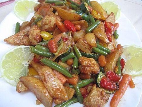 pollo con verduras al limon